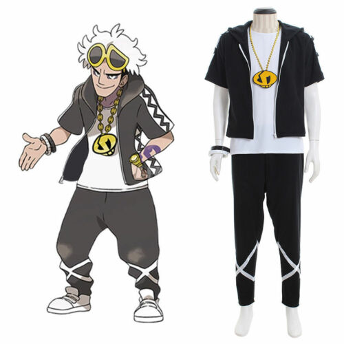 Pokémon Sun//Moon Cosplay Costume Guzma Shirt Jacket and Pant Full Set AA.12