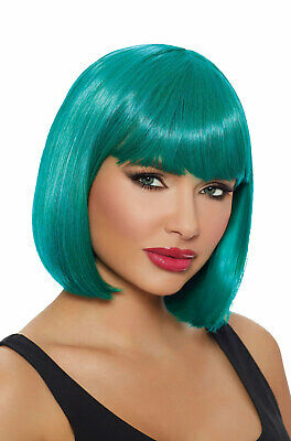 Teal Brand New Roaring 1920s Flapper Mid-Length Bob Wig