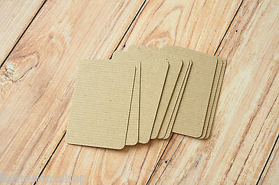 RIBBED Brown Kraft MINI business cards 50pc organic eco friendly manilla cards