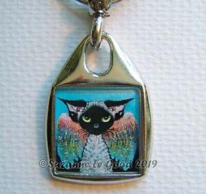 DEVON-REX-CAT-angel-art-Keyring-handbag-charm-painting-glitter-Suzanne-Le-Good