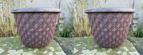 2 X Traditional Design Planter Pot Garden Flower Low-weight Plastic Black//Rustic