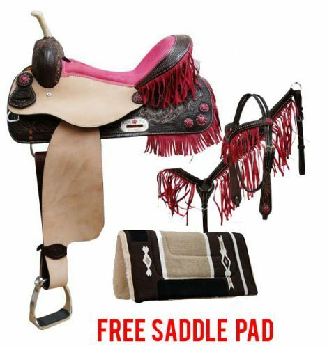 Double T BARREL SADDLE Pink FRINGE Rhinestone Bridle  BreastCollar Reins FREE PAD  floor price