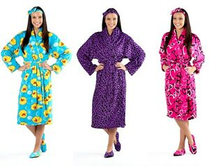 Image is loading Ladies-Dressing-Gown-Slipper-Socks-Headband-Gift-Set- ca773647a