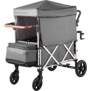 Baby-Stroller-Wagon-Grey-Wagon-Canopy-110lbs-Twin-Baby-W-Bag-5-point-Harnesses