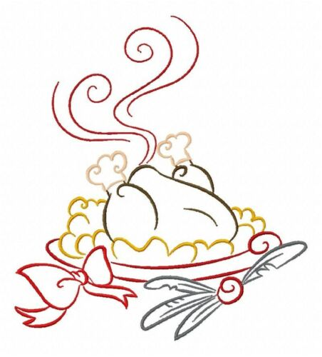 Color Outline Thanksgiving 10 Machine Embroidery Designs on CD in 4 sizes