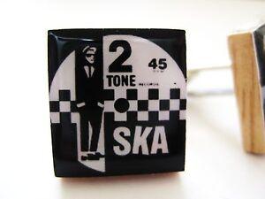 SKA Keyring SKA record Keyring TWO TONE MOD BLACK WHITE SKA GIFT HANDMADE