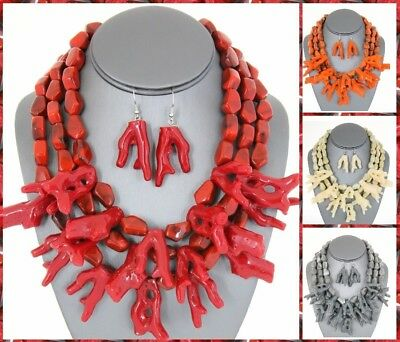 Sea Coral Layered Multi Reef Branch Chunky Nautical Statement Necklace Earrings