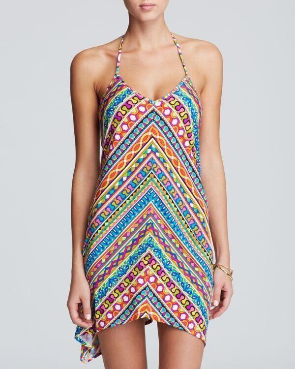 NWT  144 Sz Large L Trina Turk Peruvian Stripe Halter Dress Swim Cover