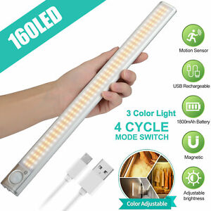 160-LED-PIR-Motion-Sensor-Under-Cabinet-Closet-Light-Rechargeable-Kitchen-Lamp