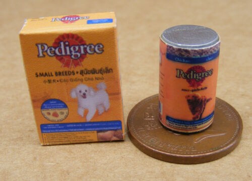 Escala 1:12 de la cena de los perros comida para mascotas casa De Muñecas Accesorio Vacío Lata /& Paquete