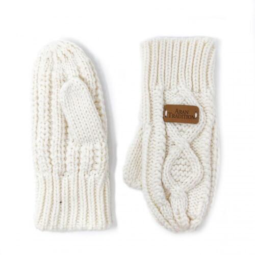 Aran Traditions Unisexe Hiver Cable Tricoté Moufles Gants-Crème