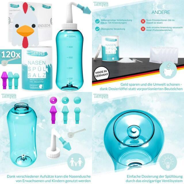 Dosierlöffel Nasendusche Set NARSA® 3 Aufsätz Nasenspülsalz 10x Beutel