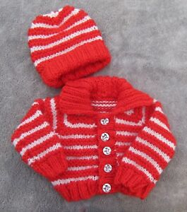 d1ec9256c Hand knitted chunky collar cardigan hat in white red stripes 0 3mths ...