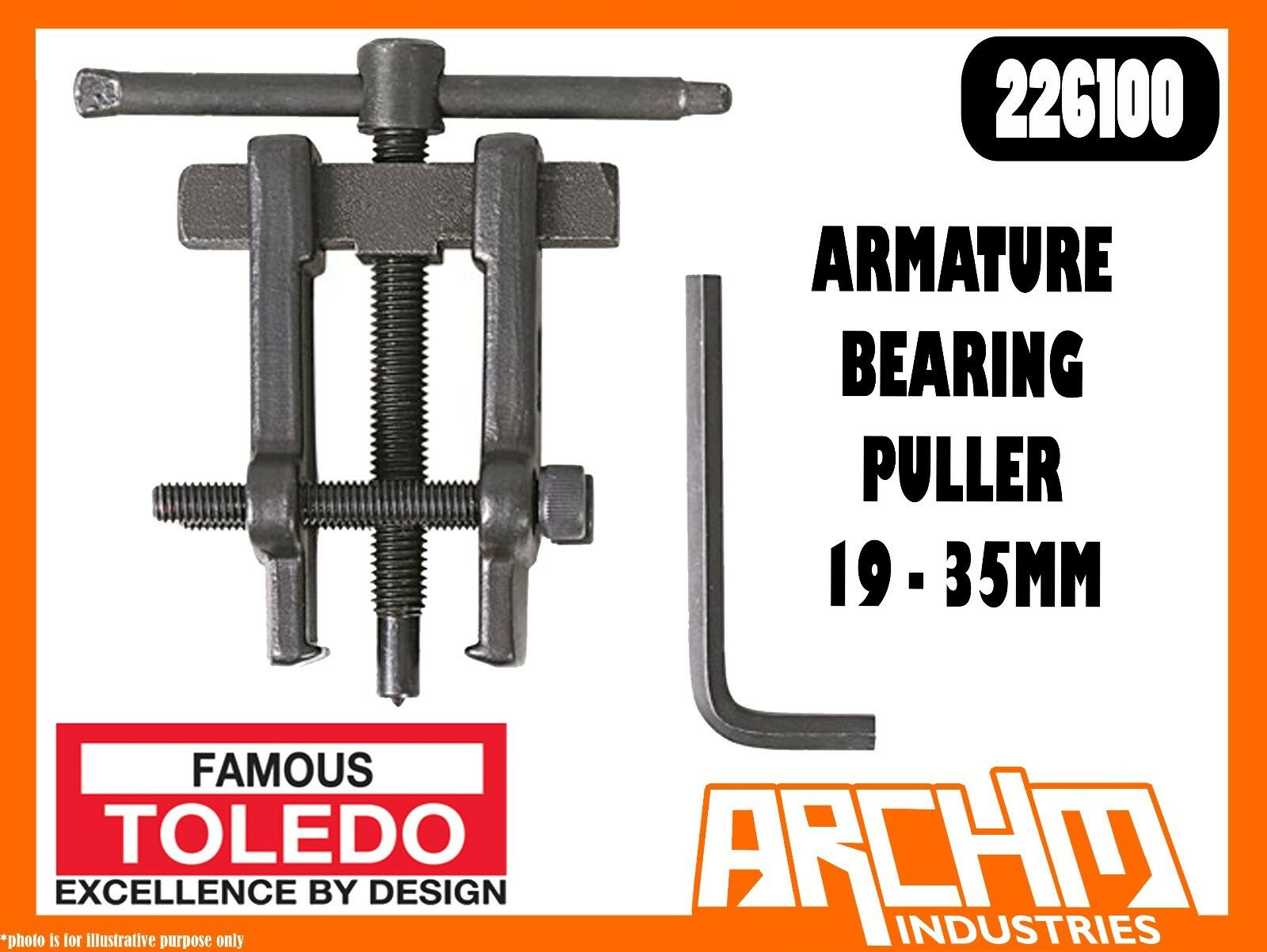 TOLEDO 226100 - ARMATURE BEARING PULLER 19 - 35MM - GEARS SHAFTS GENERATORS