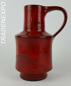 Vintage-60-70-039-s-HOY-HEYNE-TOPFEREI-Red-Handled-Vase-West-German-Pottery-Fat-Lava