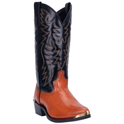 Laredo Mens Atlanta Western Cowboy Boots Leather Embroidery Snip Toe Brown//Black