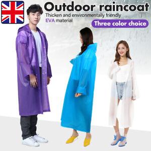 Raincoat Waterproof Poncho Reusable Plastic Adult Camping Festival Rain Coat UK