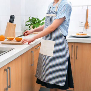 Cotton-Linen-Apron-Pocket-Stripe-DIY-Cooking-Baking-Chef-Home-Cafe-Painter-Decor
