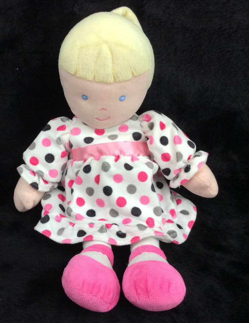 Carters Baby Doll Pink Grey Dots Dress Blonde Plush Stuffed Animal 12
