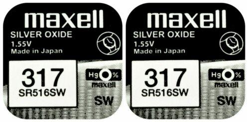 2 x Maxell 317 Pila Batteria Orologio Mercury Free Silver Oxide SR516W 1.55V
