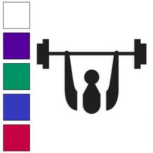 Barbell Style B Vinyl Sticker Decal Weights Lifting Choose Size /& Color