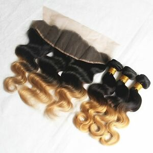 Details Zu Luxury Brazilian Two Tone Honey Blonde Body Wave Ombre Hair Extensions Frontal