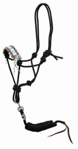 """Showman 2/"""" WHITE LACED Leather Nose TEAL /& BROWN NAVAJO Rope HALTER /& Lead"""