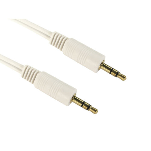 WHITE 2m 3.5mm Jack to Jack Aux Cable STEREO Audio Auxiliary Lead PC Car GOLD