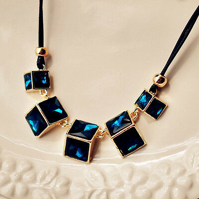 Elegant Dark Blue Square Crystal Gold Plated Black Leather Lady Pendant Necklace
