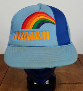 Vintage Hawaii Rainbow 70s 80s Snapback Hat Cap Surf Skate Souvenir ... 06bc02cc585