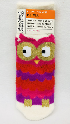 1 PAIR Bath /& Body Works OLIVIA THE OWL Pink Purp Socks Shea Enriched Soft Fuzzy