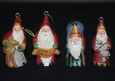"(4) Four 1999 House of Hatten Santa Claus Christmas Susan M Smith Ornament 2.25"""