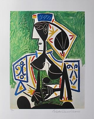 Art Pablo Picasso Woman In Green Estate Signed Limited Edition Giclee Art