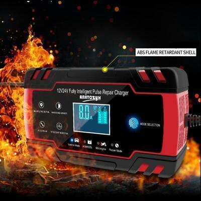 12//24V LCD Car ATV Motorcycle Pulse Repair Battery Charger AGM Automatic 6-150Ah