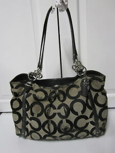 96ce081c8c Image is loading Coach-Op-Art-Alexandra-Tote-Signature-Black-Shoulder-