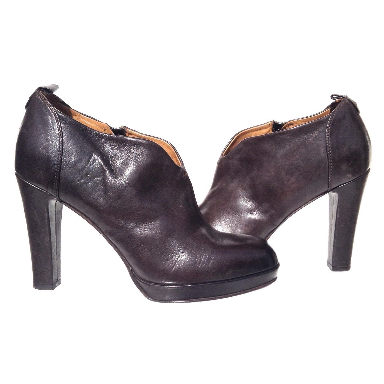 NEW   ALBERTO FERMANI  SZ 40.5 (10) Coffee All Leather Ankle Booties Boots Pumps
