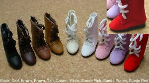DOLL Shoes 44mm WHITE Lace up boots  Ellowyne Patience /& NuMood