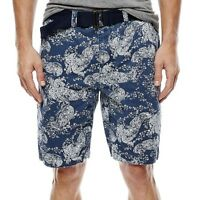 Arizona Belted Flat-front Shorts Paisley Msrp $38 Size 31, 32, 34, 36