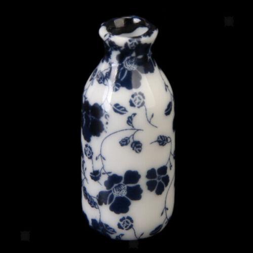 1//12 Dollhouse Ceramic Miniature China Porcelain Vases Blue Vine Set of 7pcs