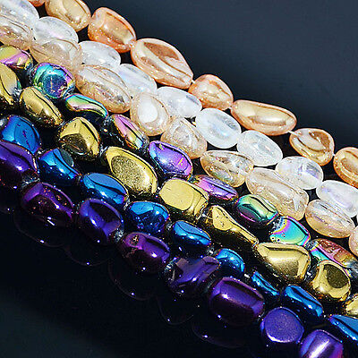 "10x20mm Metallic Titanium Coated Natural Quartz Crystal Nugget Oblong Beads 16/"""