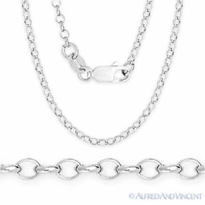 925-Sterling-Silver-w-Rhodium-2-1mm-Open-Rolo-Cable-Link-Chain-Italian-Necklace