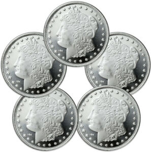 Lot-of-5-Morgan-Dollar-Design-1-oz-999-Silver-Rounds-SKU31047