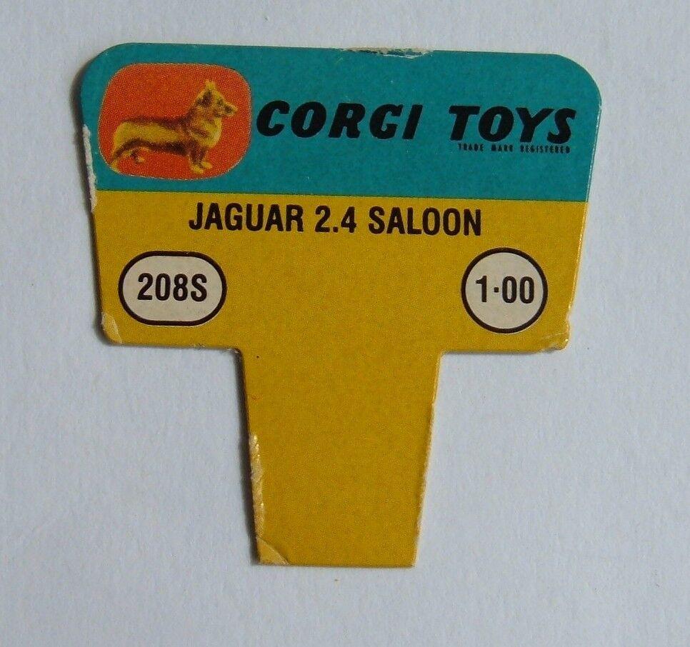NO. 208s JAGUAR 2.4 Berlina anni 1960 noi CORGI TOYS esposizione negozio prezzo BIGLIETTO, menta.