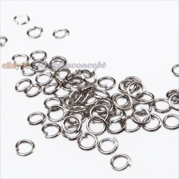 1500x 161021 Wholesale Iron Rhodium Plated Split Open Jump Rings Findings 4mm