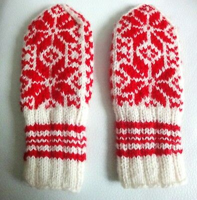Bello Magnifique Moufle Gant En Laine Neuf Pour Fille Wool Gloves Red And White New!