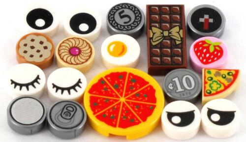 Schokolade Kekse LEGO Fliesen 18 Stück Pizza Geld Augen NEU Spiegelei