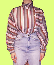 VINTAGE 80s 90s 70s Kitsch Stripe Pattern Polo Multi Retro Grunge Blouse Top