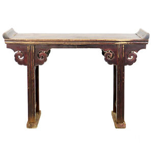 Details About Antique Chinese 52 Wide Altar Hall Sofa Table Brown Lacquer 15 Deep 36 Tall