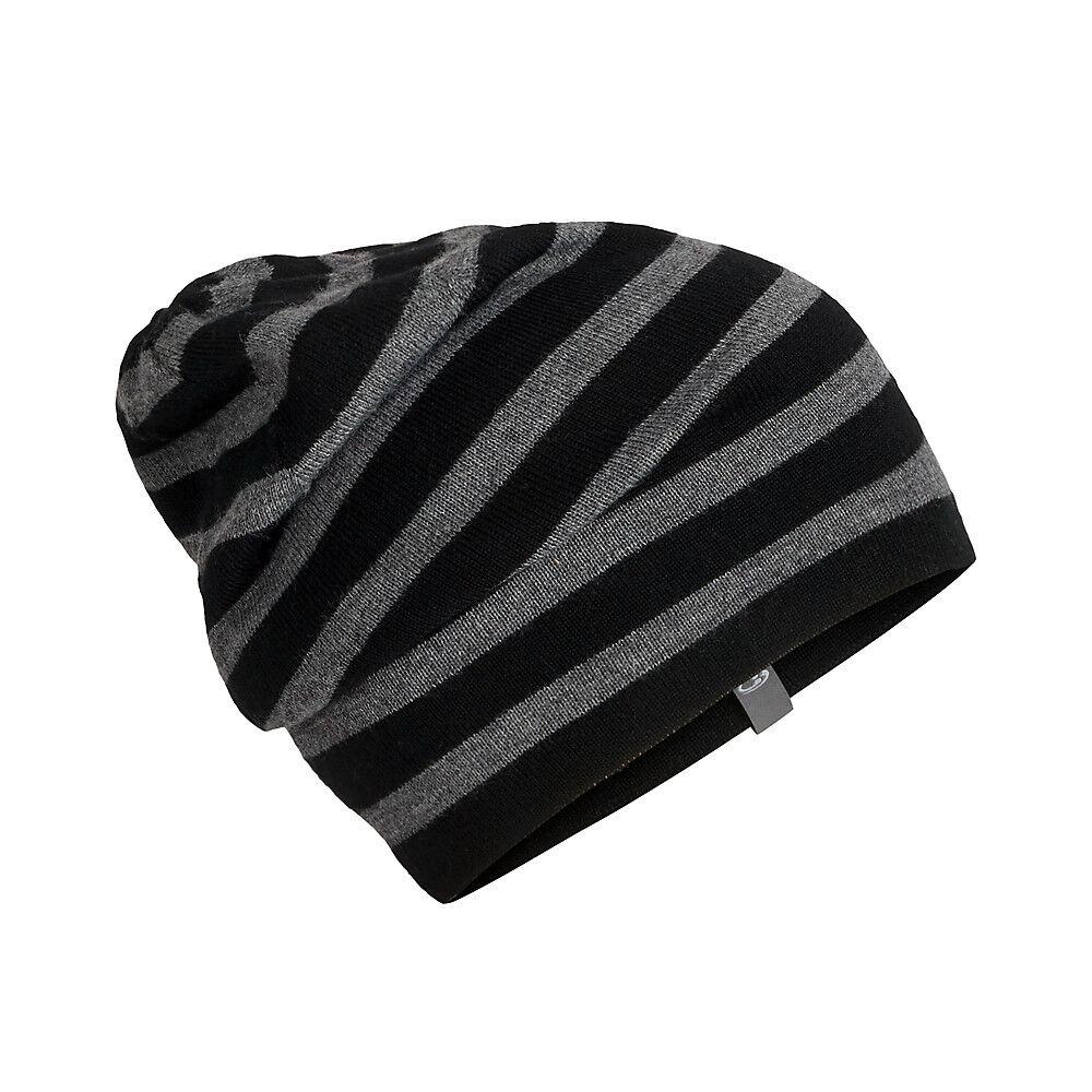ICEBREAKER Stripe Slouch Beanie Unisex - superbequeme Wollmütze