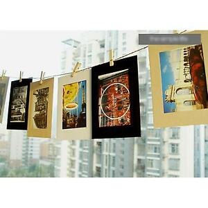 10X-Decor-Wall-Wood-Clips-Rope-Art-6-039-039-Picture-Paper-Photo-Hanging-Album-Frame